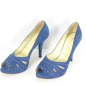 BRUNO MAGLI BLUE SUEDE PLATFORMS PEEP TOE PUMPS 39